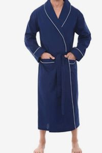 Alexander Del Rossa Men's Solid Cotton Robe