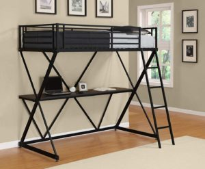 DHP X-Loft Metal Bunk Bed Frame with Desk