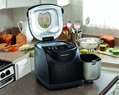 Hamilton Beach 29882 2 lb Non-Stick Bread Maker Programmable and Dishwasher Safe, Includes 2 Kneading Paddles, Black